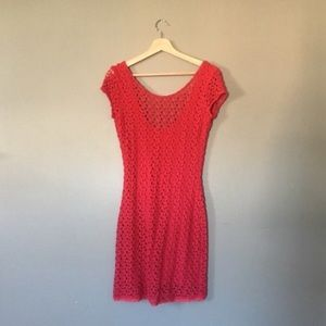Red Crocheted Body Con Scoop Back Dress
